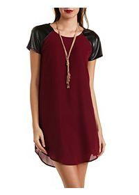 Faux Leather Raglan Sleeve Shift Dress