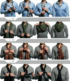 Who says men can't rock scarves!? Here's some ideas on how to wear them!