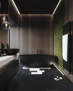 Home Room Design, Dream Home Design, Modern House Design, Design Kitchen, Kitchen Interior, Natural Bathroom, Modern Master Bathroom, Master Bathrooms, Bathroom Black