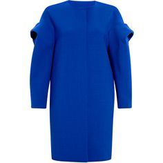 MSGM Online Exclusive Blue Stretch Wool Coat ($117) ❤ liked on Polyvore