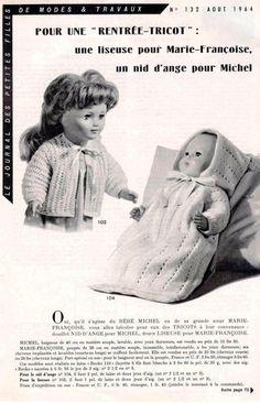 PAR AMOUR DES POUPEES :: M&T 1964-08 Liseuse pour Marie-Françoise et nid d'ange pour Michel (tricot)