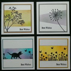 Clarity Stamps & distress inks used to make 4 quick cards - by Lynne Lee
