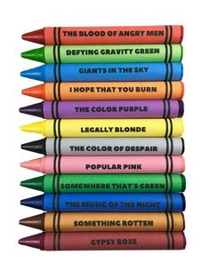 Note: Due to high demand delivery time on crayons is about 14 days Set Of 12 Broadway-Themed Coloring Crayons. *Theatre Nerds Exclusive Product. Each set comes