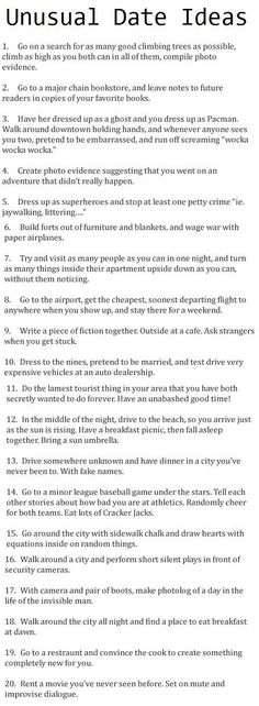 Unusual date ideas list funny dating wititudes unusual date ideas list. unusual date ideas list funny dating wititudes unusual date ideas list Date Ideas For Boyfriend, Boyfriend Gifts, Unusual Date, Cute Date Ideas, Fun Ideas, Best Date Ideas, Winter Date Ideas, Unique Date Ideas, Cheap Date Ideas