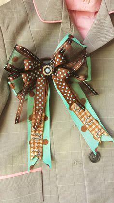 Pair of Large Horse Show Bows w/ Tails -- Tiffany and Brown Polka Dots