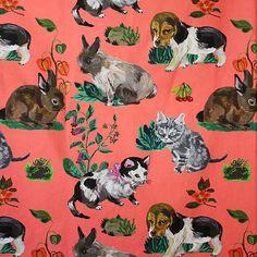 THEVENON ナタリー・レテ ファブリック ネコイヌウサギ コーラル 140cm幅×50cm - パリと、猫と、エトセトラ。「マッシュノート」 http://mashnote.jp/?pid=96360278