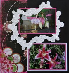 Flower Garden scrapbook page with a Frame from Cricut's Reminisce