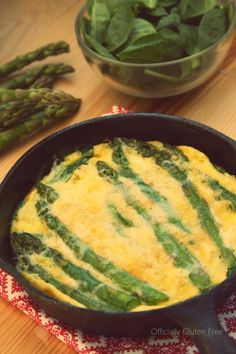 Baked Spinach and Asparagus Omelette - use egg whites and unsweetened almond milk instead.