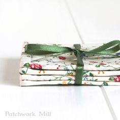 Fabric Coasters - Italian Flowers, Shabby Cottage Chic Rose, 4 Reversible Patchwork Mini Quilts Candle Mat Set, Red Green Blue Yellow Floral, Quilts by PatchworkMill