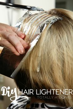 Skip the salon and expensive (not to mention damaging) hair lightening treatments! Make your own DIY hair lightener for cheap with NO damaged hair!