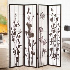 Botanical Print Room Divider - Room Dividers at Hayneedle