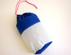 Nautical Drawstring Bag Ripstop Sailcloth Blue White by SaltySail, $15.00