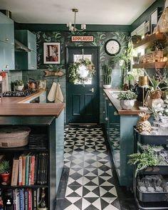 Kitchen Layout, Kitchen Decor, Kitchen Design, Kitchen Mats, Green Kitchen, Kitchen Colors, Home Design, Design Ideas, Black Slate Floor