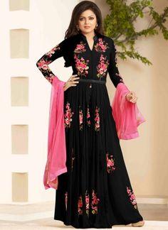 Drashti Dhami Embroidery Resham Work Black Georgette Long Anarkali Salwar Kameez http://www.angelnx.com/Salwar-Kameez/Anarkali-Suits