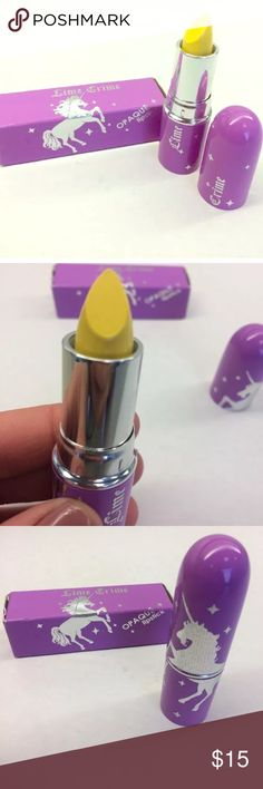 New Lime Crime Unicorn Lipstick New Yolk City NIB This listing is for a new in box Lime Crime Unicorn Lipstick in New Yolk City (yellow). Purple packaging. Never used. Slight wear to box from being in my drawer. Only opened for pics. My Lime Crime products were purchased from either LimeCrime.com or Dolls Kill. Please see pics. Smoke-free home, but cat friendly. 🐱 No trades, try-ons, or off Posh sales. Feel free to ask questions. Thank you. 💖💖 Lime Crime Makeup Lipstick