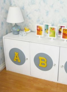 Learn how to create a pretty DIY ABC Cabinet to keep your little one's play things organized.