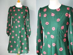 60s/ 70s Vintage Dress with Bell Sleeves by VioletsAtticVintage, £15.00