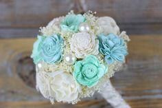 Mint, Dusty Blue, Ivory Sola Flower Bouquet, Bridal Bouquet, Wedding Flowers, Keepsake Flowers, Handmade Wedding Flowers, Rustic Bouquet