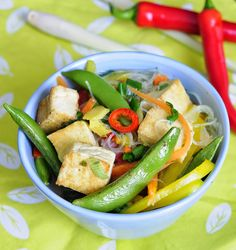 Phase 2 vegans only: Adapt this great Asian Spring Vegetable Soup with Tofu for the FMD - use Metabolism Noodles, saute the tofu in a nonstick skillet, and swap mushrooms and green beans for the carrots and snap peas.