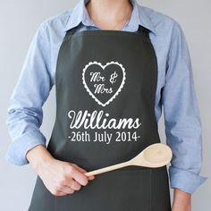 Personalised 'Mr And Mrs' Wedding Apron - kitchen
