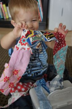 * No One Has More Fun Than The Adams!: Babies/Toddlers. sew scraps together and let them pull it out of a wipes container.