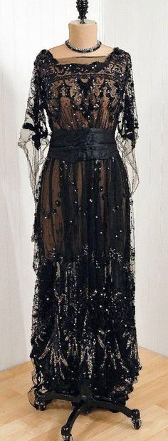 """~1910's """"Sigel"""" Early French-Designer Couture Fabric-Label *Elegant Nouveau Sequined\/Beaded Metallic-Silver & Black Silk-Tulle~"""