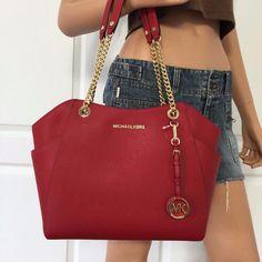 Michael Kors Saffiano Leather Travel Large Shoulder Handbag Bag Purse Red | eBay