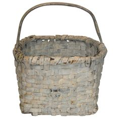 1stdibs | 19th Century Original Cream Painted Hand Made Basket From New England