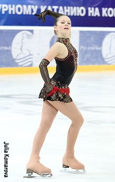 Julia Lipnitskaya -Black Figure Skating / Ice Skating dress inspiration for Sk8 Gr8 Designs.