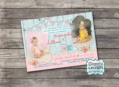 Shabby chic TWINS birthday invitation by DazzleDesignGraphics Vintage Invitations, Birthday Invitations, Invites, Baby 1st Birthday, Birthday Parties, Shabby Chic Birthday Party Ideas, Vintage Tea, Tea Party, Twins