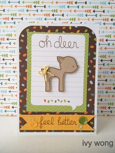 Lawn Fawn - Into the Woods paper and Mixed Sequins,  Into the Woods set, Lemon Lawn Trimmings _ oh deer! adorable card by Ivy