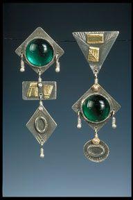 "Earrings, hand fabricated sterling silver,  14 karat & 22 karat gold, vintage glass,  2-3/4"" x 1/2""  by Susan Brooks"