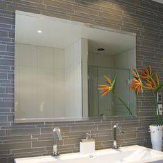 Island Stone Smoke Linear Glass Bathroom