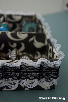 My drawers are usually pretty messy! I made this DIY drawer organizer out of scrapbook paper and pretty lace ribbon trim. Full instructions in the post! :)
