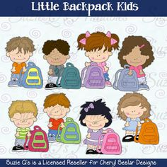 Little Backpack Kids Clipart Collection by SuzieQsCrafts on Etsy