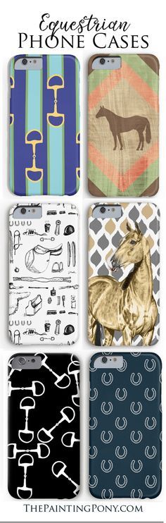 LOVE THESE! Cute horse lover phone cases. Tons of stylish equestrian themed cell phone case designs. Good for iphone and Samsung galaxy S models. Anyone who loves horses, ponies and horseback riding will love these fun cases. hunter jumper, dressage, quarter horse, horse bits, cowgirl western barrel racing phone cases. great gift for the horse addict