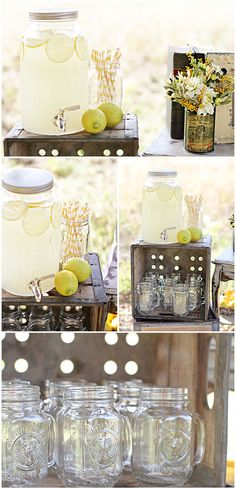 Lemon Dessert Table Feature on The mason jar glasses with handles and amazing vintage props make this lemonade party so sweet! Cocktails Bar, Bar Drinks, Garden Party Wedding, Wedding Reception, Drink Table, Beverage Table, Dessert Tables, Festa Party, Drink Dispenser