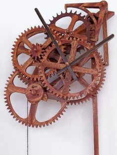 Large wooden mechanical skeleton wall clock with pendulum. Weight ...
