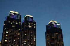 부산 더샵 옥탑조명 Apartment Lighting, Building Elevation, Facade Lighting, Willis Tower, Empire State Building, Architects, Exterior, Landscape, Travel