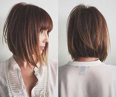 Image result for brown a line bob with bangs