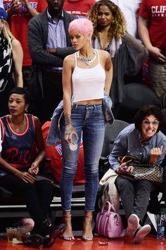 rihannalb:  Rihanna at a basketball game in Los Angeles.