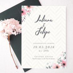 Convite de Casamento Flower Pattern – Papel e Letra Convites de Casamento