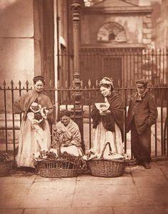 Victorian women selling flowers in Covent Garden, London