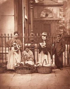 Victorian women selling flowers in Covent Garden, London