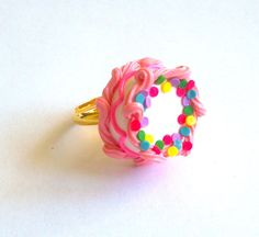 Pink Birthday Cake Ring - Miniature Food Jewelry