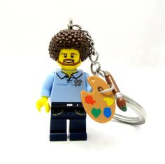 Bob Ross Happy Little Keychain Necklace or by THEmermaidsaysMARKET