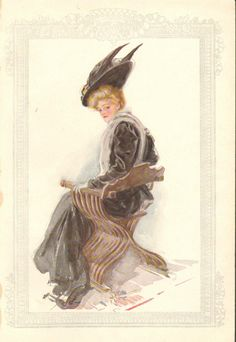 Harrison Fisher Girl Black Dress Hat w Feathers Vintage Antique Art Print | eBay