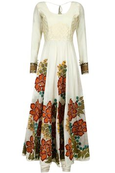 Ivory multicolour floral hand embroidered anarkali set available only at Pernia's Pop-Up Shop.