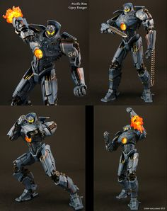 This custom NECA Pacific Rim Crimson Typhoon figure is ready to battle the Kaiju with various modifications to the original figure. All the single direction arm hinges were removed and replaced wit. Pacific Rim Striker Eureka, Pacific Rim Kaiju, Pacific Rim Jaeger, Gipsy Danger, Fantasy Wizard, Arte Robot, Halo, Mythical Creatures Art, Robot Concept Art