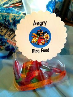 "Gummy Worms as ""Angry Bird Food"" party favor idea"